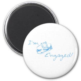 I m Engaged Blue Diamond Ring Fridge Magnet