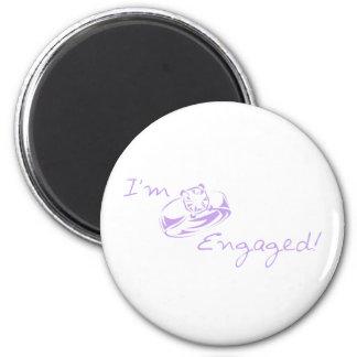 I m Engaged Purple Diamond Ring Fridge Magnet