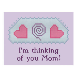I m thinking of you Mom Hearts Spiral Postcard