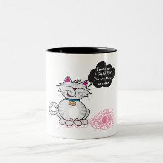 """I Made You A Sweater!"" by Cute Kitty Two-Tone Coffee Mug"