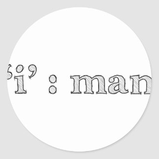 'i' : man (Karl Lentz) Classic Round Sticker