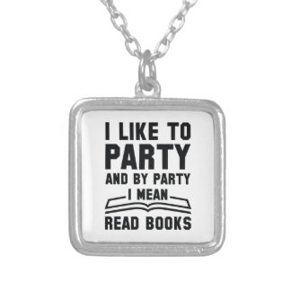 I Mean Read Books Silver Plated Necklace