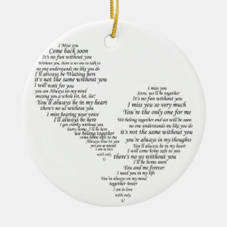 I Miss You - Broken Separated Heart Ceramic Ornament