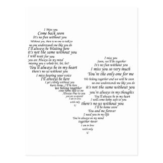 I Miss You - Broken Separated Heart Postcard