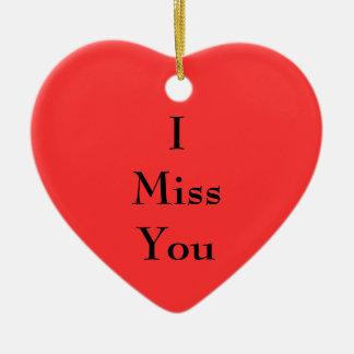 I Miss You Ceramic Heart Ornament