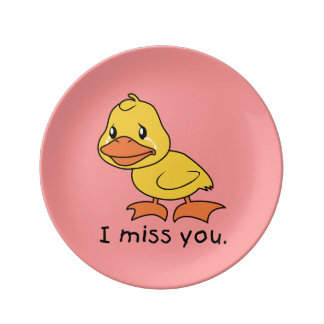 I Miss You Crying Yellow Duckling Duck Apron Plate