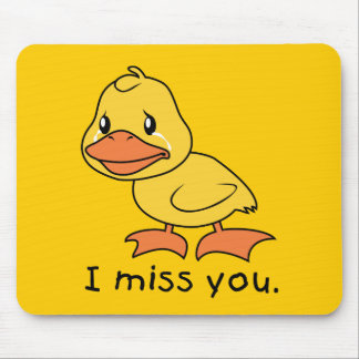 I Miss You Crying Yellow Duckling Duck Mug Wrapper Mouse Pad