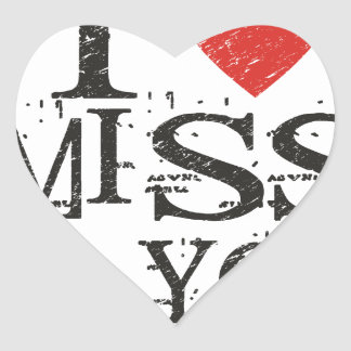 I miss you, love heart sticker