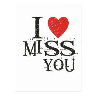 I miss you, love postcard