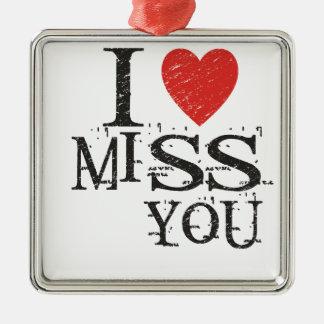 I miss you, love Silver-Colored square ornament