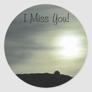"""I Miss You"" Mountain Watercolor Sunset Sticker"