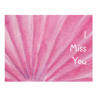 I Miss You Pink Seashell Watercolor Postcard
