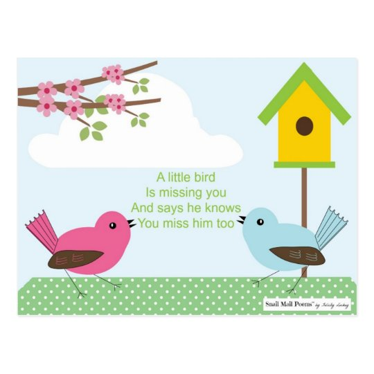 Brilliant I Miss You Poem From A Boy Birdhouse And 2 Birds Postcard Download Free Architecture Designs Scobabritishbridgeorg