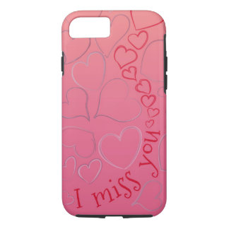 I miss you so bad (hand drawn hearts) iPhone 7 case