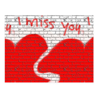 I Miss You, Twinflame Friend Love Broken Heart Red Postcard