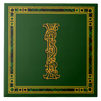 "I Monogram ""Irish Gold on Green"" Ceramic Tiles"