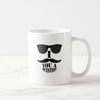 I Moustache You A Question with  Sunglasses 2 Classic White Coffee Mug
