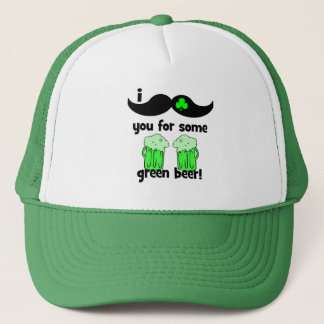 I mustache you for some green beer! trucker hat