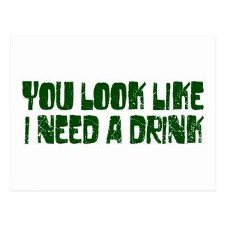 I Need A Drink Postcard