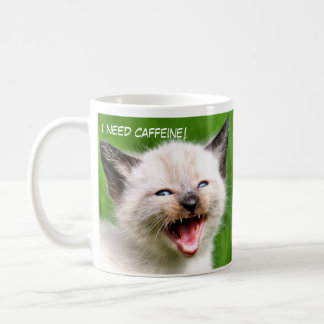 I NEED CAFFINE Funny Siamese Scary Kitten Coffee Mug