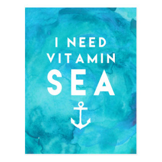 I Need Vitamin Sea Teal Watercolor Quote Postcard
