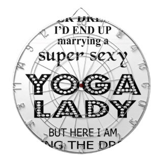 I never dreamed marrying a sexy yoga lady dartboard with darts