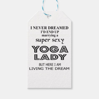 I never dreamed marrying a sexy yoga lady gift tags