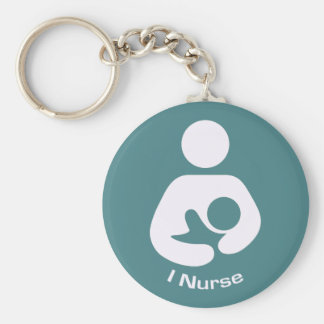 I Nurse Pro-Breastfeeding Icon (Teal) Basic Round Button Keychain
