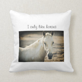 I only like horses throw pillow
