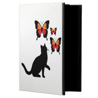 I pad Air Case Beautiful Black Cat and Butterflies