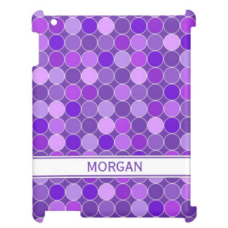 i Pad Custom Name Purple Circles Pattern Cover For The iPad 2 3 4