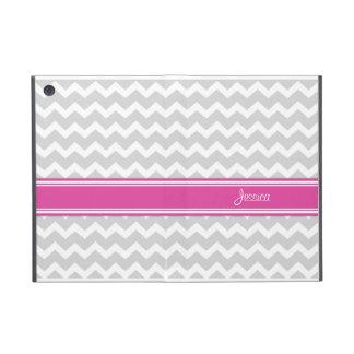i Pad Mini Hot Pink Gray Chevron Custom Name Case For iPad Mini