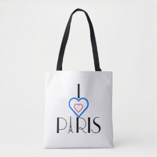 I ❤️ Paris Eiffel Tower/Tricolore Heart Tote Bag