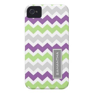 i Phone 4 Lime Plum Chevron Custom Name Case-Mate iPhone 4 Cases
