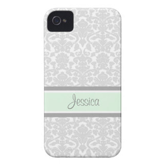 i Phone 4 Mint Damask Custom Name iPhone 4 Case-Mate Case