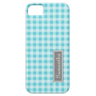 i Phone 5 Blue Gingham Custom Name iPhone 5 Case