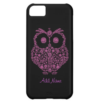 I Phone 5 Case OWL LOVER Pink & Black iPhone 5C Cover