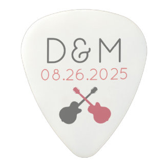 I PICK YOU, wedding couple photo & heart Polycarbonate Guitar Pick