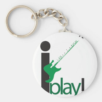 i play bass basic round button keychain