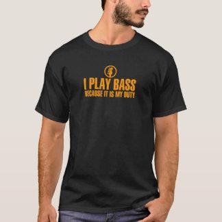 I Play Bass Orange Color T-Shirt