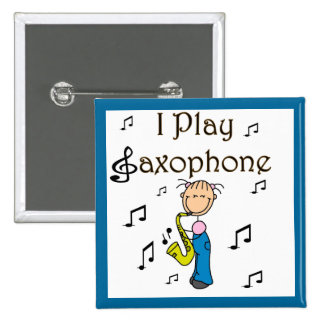 I Play Saxophone Stick Figure T-shirts and Gifts Pins