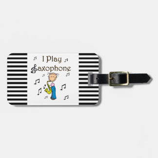 I Play Saxophone Stick Figure T-shirts and Gifts Luggage Tag