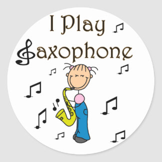 I Play Saxophone T-shirts and Gifts Classic Round Sticker