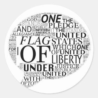 I Pledge Allegiance in Caption Box Classic Round Sticker