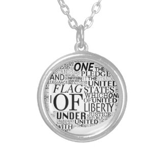 I Pledge Allegiance in Caption Box Silver Plated Necklace