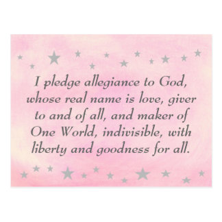 I pledge allegiance to God, postcard