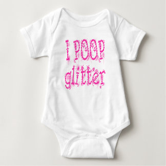 I Poop Glitter Pink Baby One Piece Baby Bodysuit