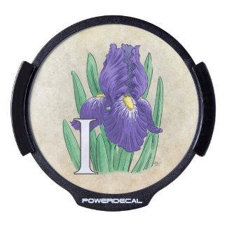 I pour le monogramme de fleur d'iris autocollant pour fenêtre LED