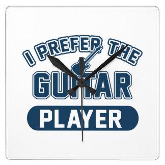 I Prefer The Guitar Player Square Wall Clock