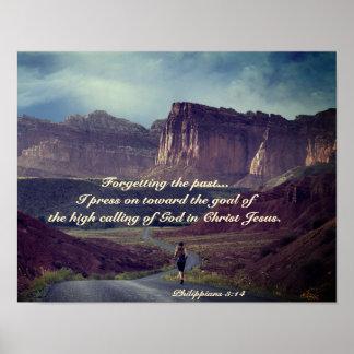 I press on toward the goal Philippians 3:14 Bible Poster